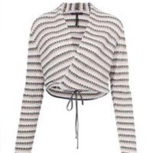 Sarah Pacini Striped Wrap Around Tie Waist Top